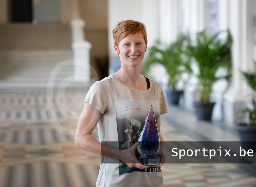 20170604 – OOSTENDE , BELGIUM : Best Belgian Female player Lien Mermans pictured during the 3nd edition of the Sparkle award ceremony , Sunday 4 June 2017 , in Oostende . The Sparkle  is an award for the best female soccer player in the Belgian Superleague and 1st division during the season 2016-2017 comparable to the Golden Shoe or Boot / Gouden Schoen / Soulier D'or for Men in Belgium . PHOTO SPORTPIX.BE   DAVID CATRY