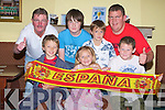 ESPANA: Well you know who they support as the world cup final took off between Spain and Netherlands Spain supporters watched it in Na Gaeil GAA Club, Tralee. Front l-r: Eamon Sheehy, Amy and Keith O'Connor. Back l-r: Tony Carlos, Cian Carlos, Jack Costello and Alan O'Connor.............................................. ....