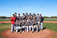 The Giants pose for a team photo after winning the Championship game during the Under Armour Baseball Factory Recruiting Classic at Gene Autry Park on December 30, 2017 in Mesa, Arizona. (Zachary Lucy/Four Seam Images)