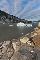 Tourists kayak in Nellie Juan Lagoon, Prince William Sound, Chugach National Forest, Kenai Peninsula, southcentral, Alaska.