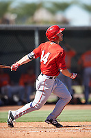 Los Angeles Angels of Anaheim John Schuknecht (14) during an Instructional League game against the San Francisco Giants on October 13, 2016 at the Tempe Diablo Stadium Complex in Tempe, Arizona.  (Mike Janes/Four Seam Images)