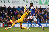 Preston North End's Callum Robinson gets away from Ipswich Town's Jordan Spence but is unable to reach the ball<br /> <br /> Photographer David Shipman/CameraSport<br /> <br /> The EFL Sky Bet Championship - Ipswich Town v Preston North End - Saturday 3rd November 2018 - Portman Road - Ipswich<br /> <br /> World Copyright &copy; 2018 CameraSport. All rights reserved. 43 Linden Ave. Countesthorpe. Leicester. England. LE8 5PG - Tel: +44 (0) 116 277 4147 - admin@camerasport.com - www.camerasport.com