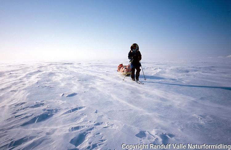 Mann trekker stor pulk. ---- Man pulling large sled.