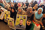 Palestinians take part in a protest demanding release the prisoners in Israeli jails, in front of Red cross office, in Gaza city, on May 30, 2016. Photo by Mohammed Asad