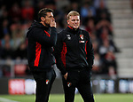 Assistant coach Jason Tindall and Eddie Howe manager of Bournemouth look on concerned during the premier league match at the Vitality Stadium, Bournemouth. Picture date 18th April 2018. Picture credit should read: David Klein/Sportimage