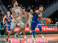 WASHINGTON, DC - DECEMBER 28: Jahvon Blair #0 of Georgetown races to cut off Sa'eed Nelson #0 of American. during a game between American University and Georgetown University at Capital One Arena on December 28, 2019 in Washington, DC.