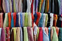 Colorful cloth material, Khan el Khalili Bazaar, Luxor, Egypt