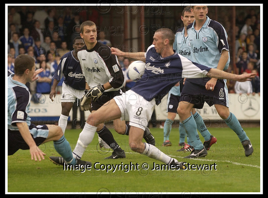 28/9/02       Copyright Pic : James Stewart                     .File Name : stewart-falkirk v st j'stone 05.ST JOHNSTONE KEEPER KEVIN CUTHBERT LOOKS ON AS LEE MILLER TRIES TO LATCH ON TO THA BALL AFTER HE DROPPED THE CROSS.....James Stewart Photo Agency, 19 Carronlea Drive, Falkirk. FK2 8DN      Vat Reg No. 607 6932 25.Office : +44 (0)1324 570906     .Mobile : + 44 (0)7721 416997.Fax     :  +44 (0)1324 570906.E-mail : jim@jspa.co.uk.If you require further information then contact Jim Stewart on any of the numbers above.........