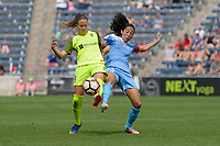 Bridgeview, IL - Sunday June 04, 2017: Lauren Barnes, Christen Press during a regular season National Women's Soccer League (NWSL) match between the Chicago Red Stars and the Seattle Reign FC at Toyota Park. The Red Stars won 1-0.