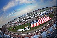 Jul. 5, 2008; Daytona Beach, FL, USA; F-15 fighter jets perform a fly over prior to the NASCAR Sprint Cup series Coke Zero 400 at Daytona International Speedway. Mandatory Credit: Mark J. Rebilas-