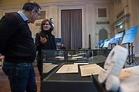 """Beethoven-Ausstellung """"Diesen Kuss der ganzen Welt!"""" in der Staatsbibliothek zu Berlin.<br /> Im Haus Unter den Linden wird eine der weltweit bedeutendsten Sammlungen von Notenhandschriften Ludwig van Beethovens und Autographen vom 11. Maerz bis 30. April 2020 gezeigt.<br /> Im Bild: 9. Sinfonie in D-Moll op. 125, 1824.<br /> Die einzelnen Teile des Autograph wurden 1941 im Zweiten Weltkrieg an verschiedene Orte ausgelagert um sie vor einer kompletten Zerstoerung zu bewahren. Dies fuehrte dazu, dass die Notenhandschrift ueber 50 Jahre getrennt war. Das Autograph wurde mitten im Satz """"Diesen Kuss der ganzen Welt!"""" geteilt: Das Manuskript bis Takt 698 lag in der Deutschen Staatsbibliothek in Ost-Berlin, die sich anschliessenden Notenblaetter ab Takt 699 lagen in der Staatsbibliothek in Westberlin. Erst nach der Wiedervereinigung konnten alle Teile wieder zusammengefuehrt werden.<br /> 10.3.2020, Berlin<br /> Copyright: Christian-Ditsch.de<br /> [NUR FUER REDAKTIONELLE ZWECKE! Werbung nur auf Anfrage beim Fotografen. Inhaltsveraendernde Manipulation des Fotos nur nach ausdruecklicher Genehmigung des Fotografen. Vereinbarungen ueber Abtretung von Persoenlichkeitsrechten/Model Release der abgebildeten Person/Personen liegen nicht vor. NO MODEL RELEASE! Don't publish without copyright Christian-Ditsch.de, Veroeffentlichung nur mit Fotografennennung, sowie gegen Honorar, MwSt. und Beleg. Konto: I N G - D i B a, IBAN DE58500105175400192269, BIC INGDDEFFXXX, Kontakt: post@christian-ditsch.de<br /> Bei der Bearbeitung der Dateiinformationen darf die Urheberkennzeichnung in den EXIF- und  IPTC-Daten nicht entfernt werden, diese sind in digitalen Medien nach §95c UrhG rechtlich geschuetzt. Der Urhebervermerk wird gemaess §13 UrhG verlangt.]"""
