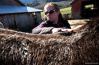 Liana Wiegel, DVM Equine Practitioner from Pilchuck Veterinary Hospital, from Snohomish, Wash. grooms horses on April 1, 2014.  The horses belong to Summer Raffo, who died in the Oso mudslide on March 22, 2014.  Alexis Blakey, a friend of Raffo's has been taking care of the horses while Raffo's family decides what to do with them.