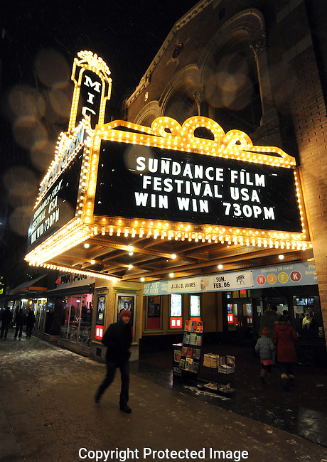 "The marquis of the Michigan Theater on opening night of the Sundance Film Festival USA where the movie ""Win Win"" was shown Thursday night, January 27th in downtown Ann Arbor..Lon Horwedel 