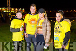 Michael Anthony Coffey, Patrick McCarthy, Nikita Coffey and Elizabeth O'Brien, all from Castleisland, taking part in the Darkness into Light walk in Tralee on Saturday morning last.