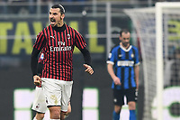 9th February 2020, Milan, Italy; Serie A football, AC Milan versus Inter-Milan;  Goal celebration in the 45th minute from scorer Zlatan Ibrahimovic for 0-2