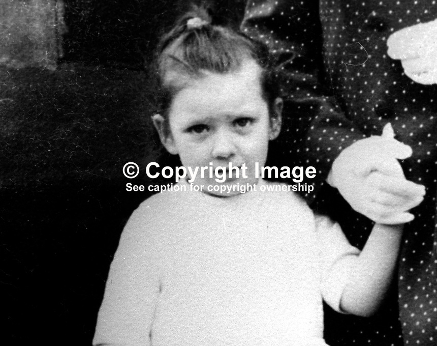 Paula Stronge, 6 years, who was killed along with another child, 4 year old Clare Hughes, when a UDA/UVF bomb exploded outside Benny's Bar in Ship Street, Belfast, on 31st October 1972. It was Hallowe'en and they were going to a nearby bonfire. Both little girls were Roman Catholics and lived in nearby streets. 197210310648<br />
