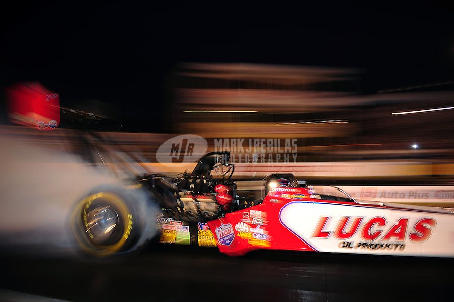 Sept. 30, 2011; Mohnton, PA, USA: NHRA top fuel dragster driver Shawn Langdon during qualifying for the Auto Plus Nationals at Maple Grove Raceway. Mandatory Credit: Mark J. Rebilas-