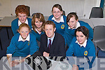 Students from Mounthawk School who are in the Munster finals of the AIB Build a Bank Chalenge in Limerick on the 3rd of March, from left: Cathal O'Donnell, Aine Daly, Cassie Stack, Colm Cooper AIB, Thresa Moriarty, Rebecca Maunsell and Elaine Rielly. Missing from photo is Rebecca Savage.