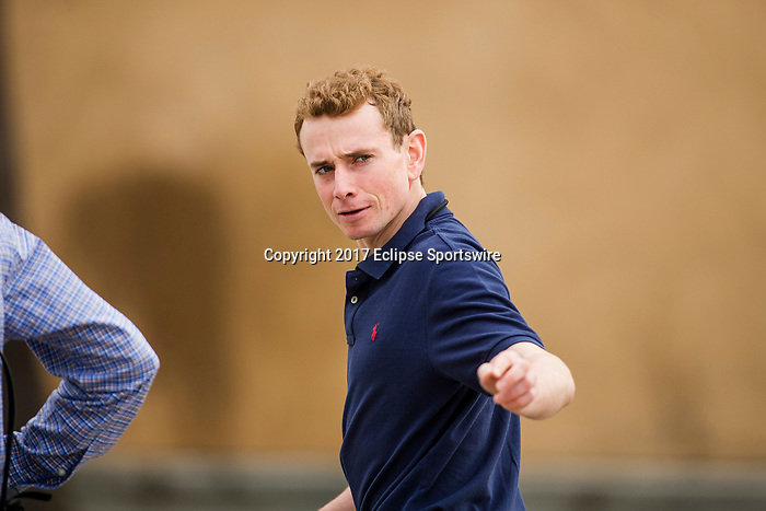 DEL MAR, CA - NOVEMBER 02: Ryan Moore at Del Mar Thoroughbred Club on November 02, 2017 in Del Mar, California. (Photo by Alex Evers/Eclipse Sportswire/Breeders Cup)