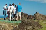 Tourist at Orongo. Easter Island, Chile