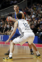 Real Madrid's Nikola Mirotic and Maccabi's Roth during Euroliga quarter final match. April 10,2013.(ALTERPHOTOS/Alconada) /NortePhoto