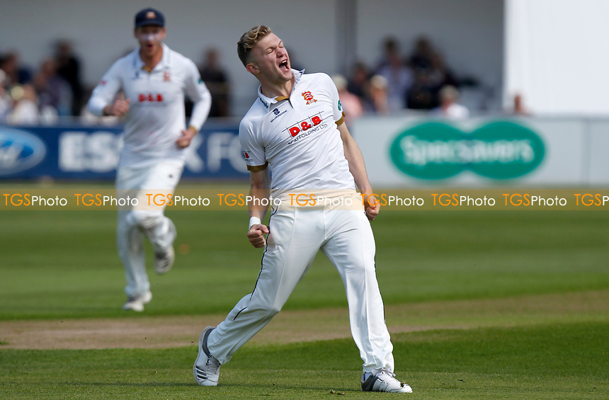 Sam Cook of Essex celebrates taking the wicket of Joe Root during Essex CCC vs Yorkshire CCC, Specsavers County Championship Division 1 Cricket at The Cloudfm County Ground on 4th May 2018