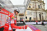 Androni Giocattoli-Sidermec at sign on before the start of Stage 3 of Il Giro di Sicilia running 186km from Caltanissetta to Ragusa, Italy. 5th April 2019.<br /> Picture: LaPresse/Massimo Paolone | Cyclefile<br /> <br /> <br /> All photos usage must carry mandatory copyright credit (&copy; Cyclefile | LaPresse/Massimo Paolone)