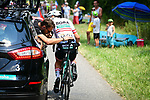 Austrian National Champion Lukas Postlberger (AUT) Bora-Hansgrohe receives mechanical attention during Stage 4 of the 2018 Tour de France running 195km from La Baule to Sarzeau, France. 10th July 2018. <br /> Picture: ASO/Pauline Ballet | Cyclefile<br /> All photos usage must carry mandatory copyright credit (&copy; Cyclefile | ASO/Pauline Ballet)