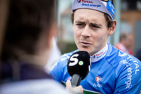 later race winner Thomas Boudat (FRA/Total - Direct Energie), with a pre race sporza interview <br /> <br /> Circuit de Wallonie 2019<br /> One Day Race: Charleroi – Charleroi 192.2km (UCI 1.1.)<br /> Bingoal Cycling Cup 2019