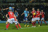Luke O'Nien of Wycombe Wanderers scores his team's second goal of the game to make it 2-0 during the Sky Bet League 2 match between Wycombe Wanderers and Morecambe at Adams Park, High Wycombe, England on 12 November 2016. Photo by David Horn.
