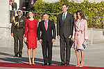 King Felipe VI of Spain ) and Queen Letizia of Spain (L) receive King Abdullah II of Jordan (2L) and Queen Rania of Jordan (R) at Barajas Airport in Madrid, Spain. July XX, 2015. (ALTERPHOTOS/Victor Blanco)