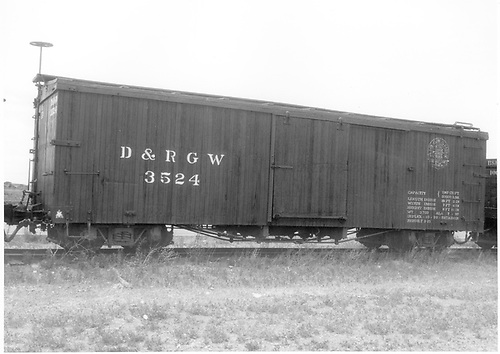 Side view of box car #3524 at Antonito.<br />   Taken by McCarter, M. D. - 7/4/1979