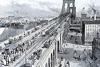 New York:  Bridge Traffic, 1883.  Photo '78.