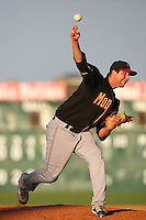 August 24 2008: Jon George of the Modesto Nuts pitches against the Lancaster JetHawks at Clear Channel Stadium in Lancaster,CA.  Photo by Larry Goren/Four Seam Images