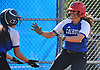 Lindsay Roman #18, Calhoun pitcher, right, and catcher Hannah Aievoli #1 celebrate after they both scored on a double by Taylor Baumann #15 (not in picture) in the bottom of the fourth inning of the Nassau County varsity softball Class AA semifinals against Farmingdale at Calhoun High School on Monday, May 14, 2018. Calhoun took Game 1 of the best-of-three playoff series win a 4-2 win.
