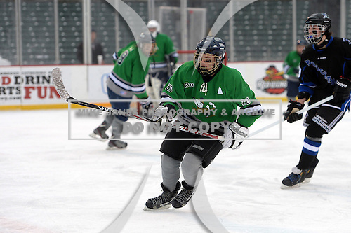 Notre Dame Fighting Irish of Batavia forward Cam Chamberlain (20) during a varsity ice hockey game against the Brockport Blue Devils during the Section V Rivalry portion of the Frozen Frontier outdoor hockey event at Frontier Field on December 22, 2013 in Rochester, New York.  (Copyright Mike Janes Photography)
