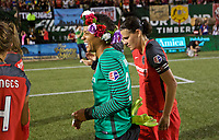 Portland, OR - Saturday August 19, 2017: Adrianna Franch, Christine Sinclair during a regular season National Women's Soccer League (NWSL) match between the Portland Thorns FC and the Houston Dash at Providence Park.