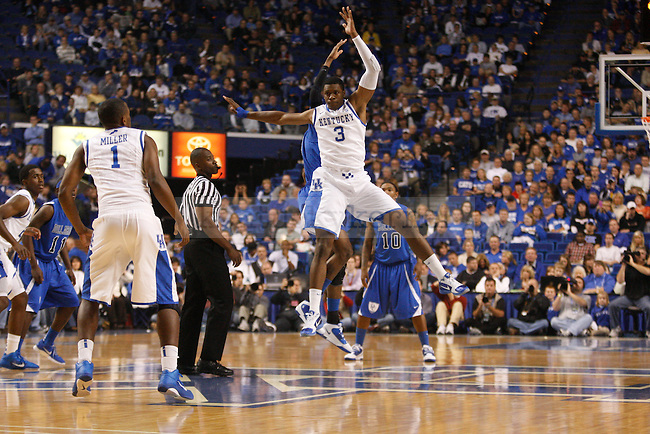 Terrence Jones at tip off for the Wildcats against Dillard University at Rupp Arena on November 5, 2010.  Photo by Latara Appleby | Staff