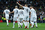 Real Madrid´s Karim Benzema celebrates a goal with his team mates during 2015/16 La Liga match between Real Madrid and Deportivo de la Coruna at Santiago Bernabeu stadium in Madrid, Spain. January 09, 2015. (ALTERPHOTOS/Victor Blanco)