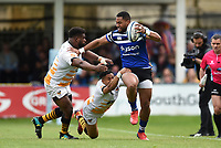 Joe Cokanasiga of Bath Rugby takes on the Wasps defence. Gallagher Premiership match, between Bath Rugby and Wasps on May 5, 2019 at the Recreation Ground in Bath, England. Photo by: Patrick Khachfe / Onside Images