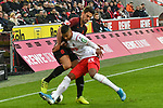 30.11.2019, Rheinenergiestadion, Köln, GER, DFL, 1. BL, 1. FC Koeln vs FC Augsburg, DFL regulations prohibit any use of photographs as image sequences and/or quasi-video<br /> <br /> im Bild v. li. im Zweikampf Rani Khedira (#8, FC Augsburg) Ismael Jacobs (#38, 1.FC Köln / Koeln) <br /> <br /> Foto © nordphoto/Mauelshagen