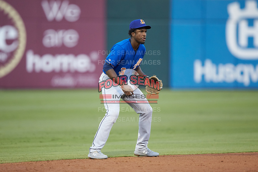 Durham Bulls shortstop Lucius Fox (3) on defense during the game against the Charlotte Knights at BB&T BallPark on July 31, 2019 in Charlotte, North Carolina. The Knights defeated the Bulls 9-6. (Brian Westerholt/Four Seam Images)