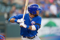 Iowa Cubs outfielder Darnell McDonald (16) at bat against the Round Rock Express in the Pacific Coast League baseball game on July 21, 2013 at the Dell Diamond in Round Rock, Texas. Round Rock defeated Iowa 3-0. (Andrew Woolley/Four Seam Images)