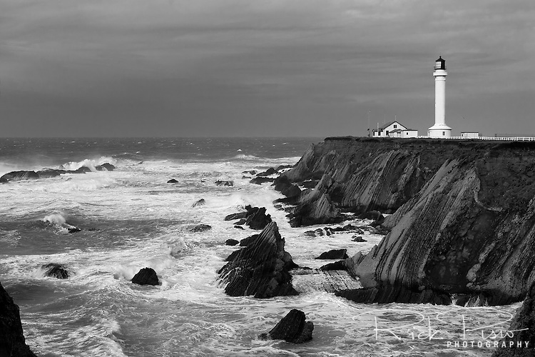 The Point Arena Lighthouse stands sentinel on the Northern California Coast, south of Mendocino, as a winter storm approaches.