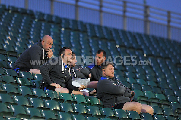 Members of the Bath Rugby coaching staff watch the match. End-of-season friendly match, between Bath United and Somerset County Senior XV on April 20, 2015 at the Recreation Ground in Bath, England. Photo by: Patrick Khachfe / Onside Images
