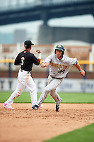 Burlington Bees left fielder Josh Delph (24) during a game against the Quad Cities River Bandits on May 9, 2016 at Modern Woodmen Park in Davenport, Iowa.  Quad Cities defeated Burlington 12-4.  (Mike Janes/Four Seam Images)