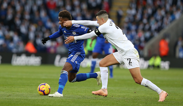 Burnley's Matthew Lowton gets to grips with Leicester City's Demarai Gray<br /> <br /> Photographer Stephen White/CameraSport<br /> <br /> The Premier League - Saturday 10th November 2018 - Leicester City v Burnley - King Power Stadium - Leicester<br /> <br /> World Copyright © 2018 CameraSport. All rights reserved. 43 Linden Ave. Countesthorpe. Leicester. England. LE8 5PG - Tel: +44 (0) 116 277 4147 - admin@camerasport.com - www.camerasport.com
