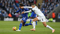 Burnley's Matthew Lowton gets to grips with Leicester City's Demarai Gray<br /> <br /> Photographer Stephen White/CameraSport<br /> <br /> The Premier League - Saturday 10th November 2018 - Leicester City v Burnley - King Power Stadium - Leicester<br /> <br /> World Copyright &copy; 2018 CameraSport. All rights reserved. 43 Linden Ave. Countesthorpe. Leicester. England. LE8 5PG - Tel: +44 (0) 116 277 4147 - admin@camerasport.com - www.camerasport.com
