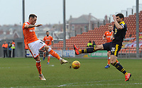 Blackpool's Harry Pritchard sees his shot deflected wide by Oxford United's John Mousinho<br /> <br /> Photographer Kevin Barnes/CameraSport<br /> <br /> The EFL Sky Bet League One - Blackpool v Oxford United - Saturday 23rd February 2019 - Bloomfield Road - Blackpool<br /> <br /> World Copyright © 2019 CameraSport. All rights reserved. 43 Linden Ave. Countesthorpe. Leicester. England. LE8 5PG - Tel: +44 (0) 116 277 4147 - admin@camerasport.com - www.camerasport.com