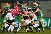 January 12th 2018, Stade Armandie , Agen, France;  European Rugby Challenge Cup, SU Agen Lot-et-Garrone;  Pierre Fouyssac (sua) is tackled hard on the run